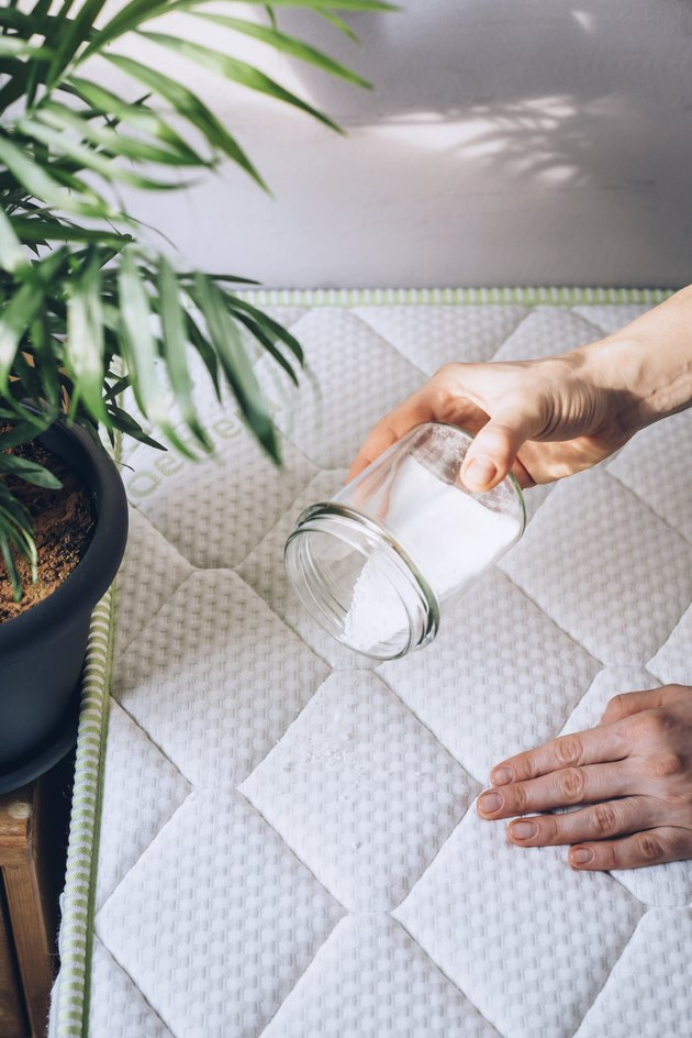 Hand pouring baking soda from small glass container onto white mattress next to medium potted plant in white room