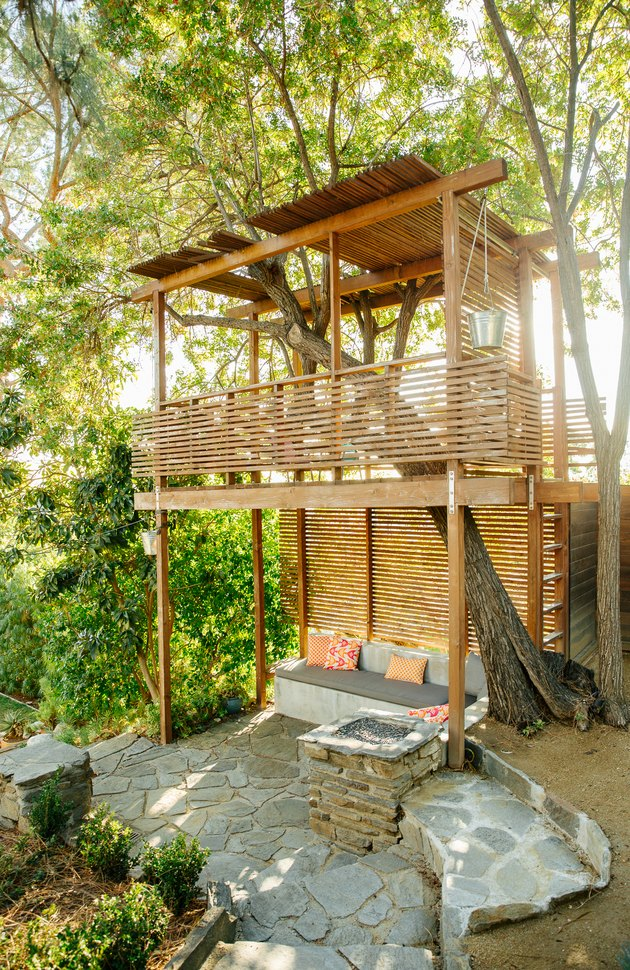 Outdoor tree fort and couch