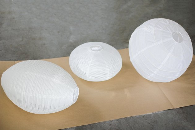 White paper lanterns of different shapes