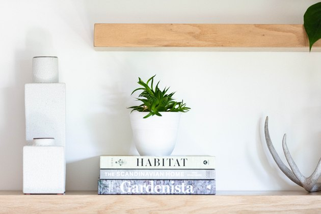 book storage with white decor on open shelving with potted plant and book storage.