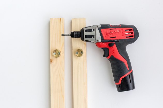 Power drill with wood boards