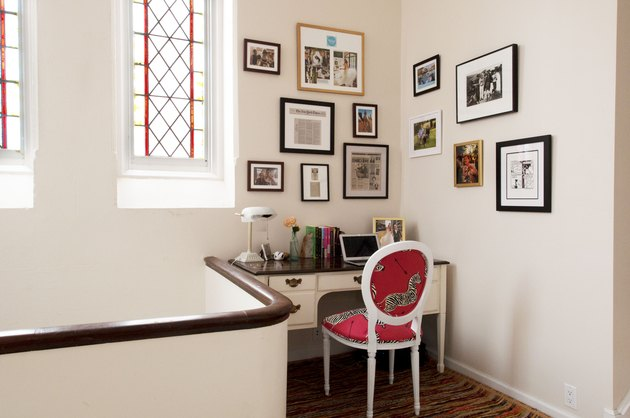 Gallery wall in home office with Home Office Desk Ideas