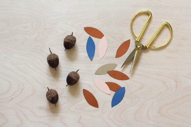 Cut paper of varying colors with acorns and gold scissors