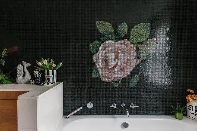 tile floral wall mural above bathtub
