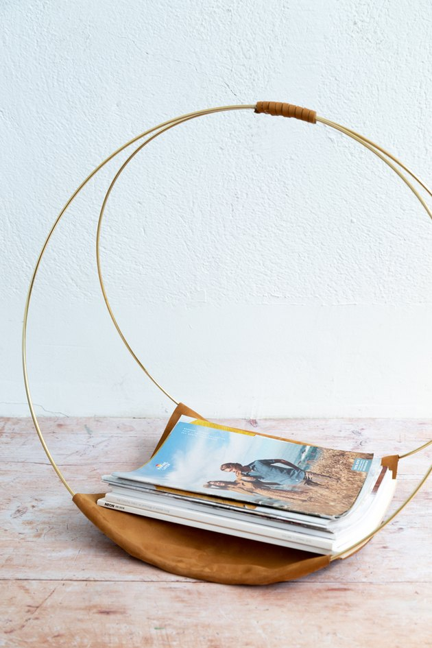 Embroidery hoop and leather magazine rack