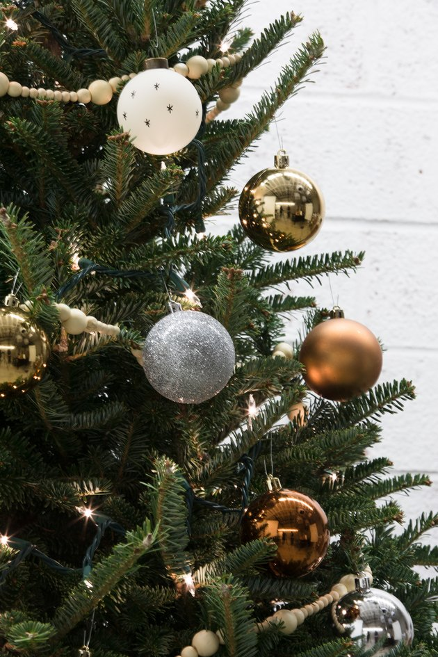 Close-up on ornaments on a christmas tree
