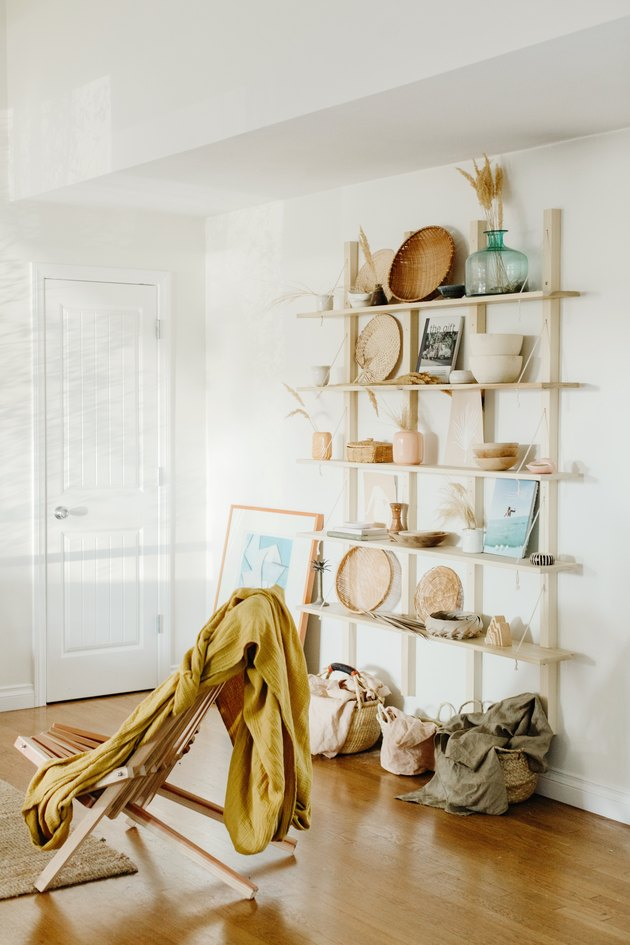 Boho living room with open bookshelf