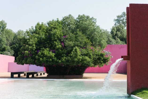 close-up on a waterfall that flows into a reflecting pool; a bright pink wall can be seen across a dirt courtyard beyond