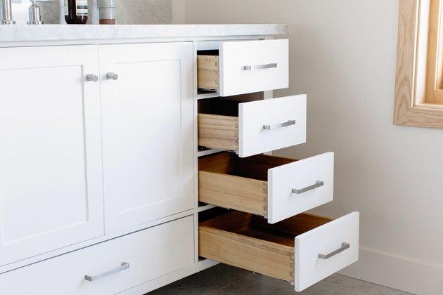 Open drawers in bathroom vanity