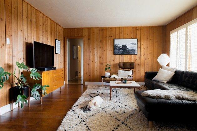 rustic decor in wood paneled room with flat screen tv, natural shag rug, dog, black leather couch, plant, mid century modern lounge chair, black and white photo on wall.