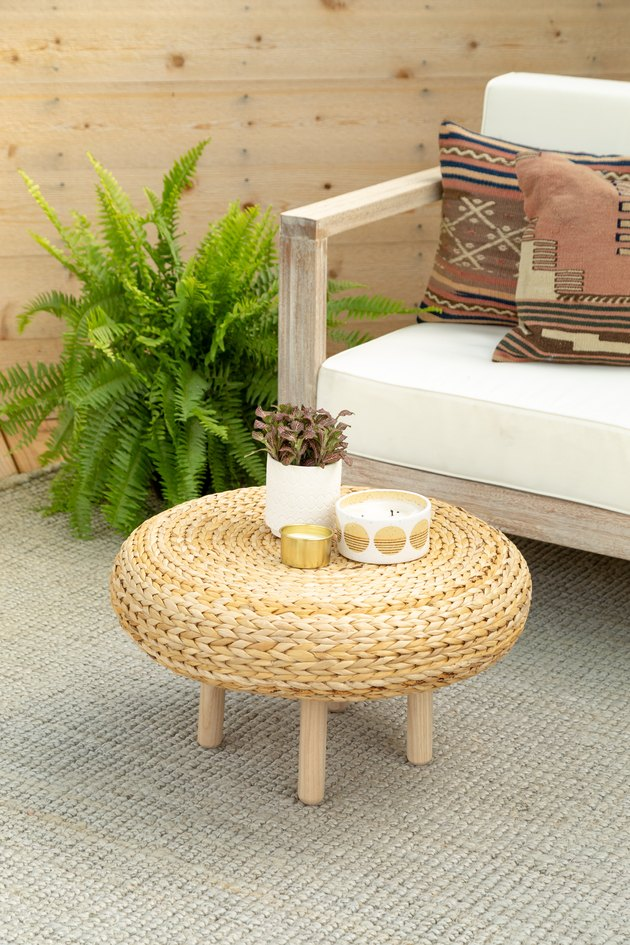 a coffee table made from an IKEA Alameda stool