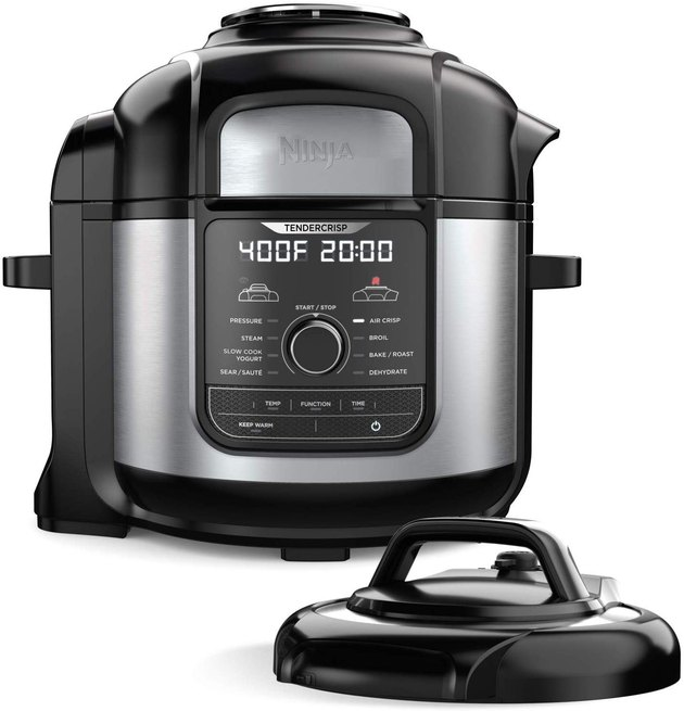 In addition to air frying dishes to perfection, this magical device works as a pressure cooker for an all-in-one cooking solution that saves counter space. The 5QT air frying component and 8QT cooking pot can make large meals, and do so quickly, transforming food from frozen to crispy in just 20 minutes.