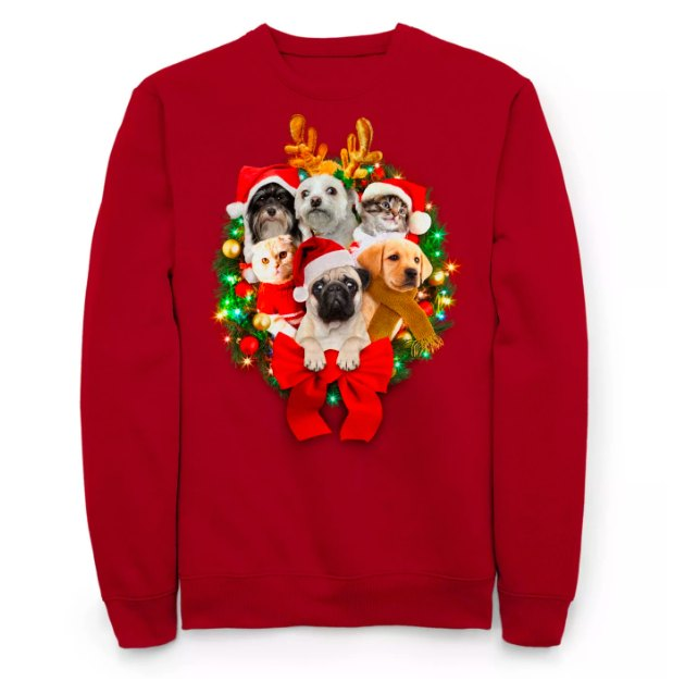 Men's Light Up Critters Holiday Fleece Sweater - Red