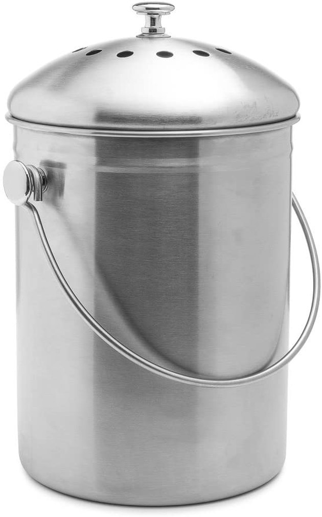 Airtight and boasting an activated-charcoal filter, this stainless steel beauty works like a charm. It's also molded from one piece, making it rust- and leak-resistant. Stainless steel also looks oh so luxe in any kitchen.