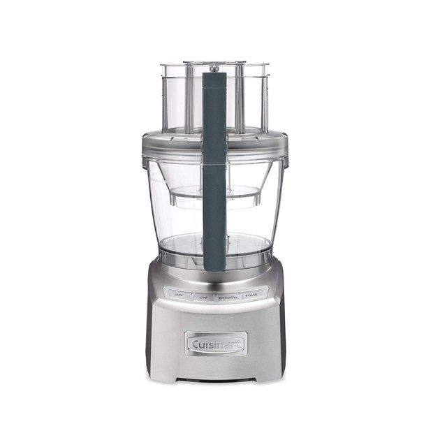 In addition to a 14-cup bowl for big meals, the processor comes with a 4.5-cup bowl for smaller portions, each with pour spouts, measurement markings, and tight seals to make life easier and cleaner. The processor also features a 1,300W motor that can tackle the toughest ingredients and a simple electronic touchpad to easily control all of its features. Attachments include a various stainless steel chopping and mixing blades, a dough blade, and a spatula.