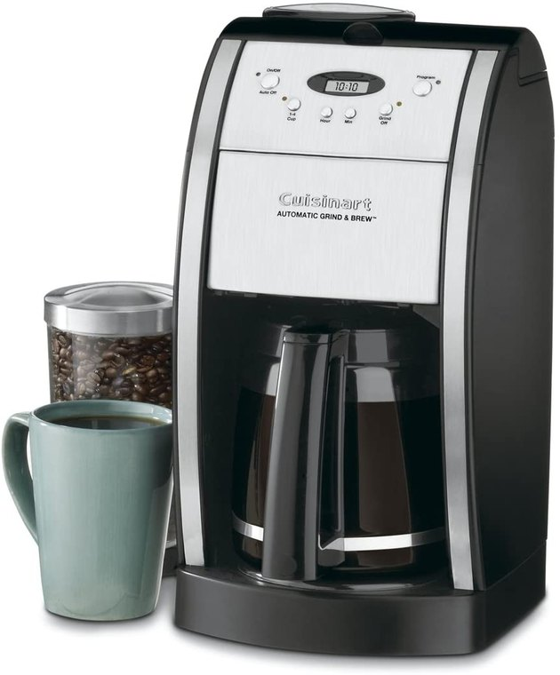 Not only does this Cuisinart coffee maker brew coffee, but it also comes with a built-in coffee grinder and has 24-hour programmability. This 12-cup coffee maker comes with a glass carafe that has an ergonomic handle, dripless pour spout, and knuckle guard to protect your hand from the heat.