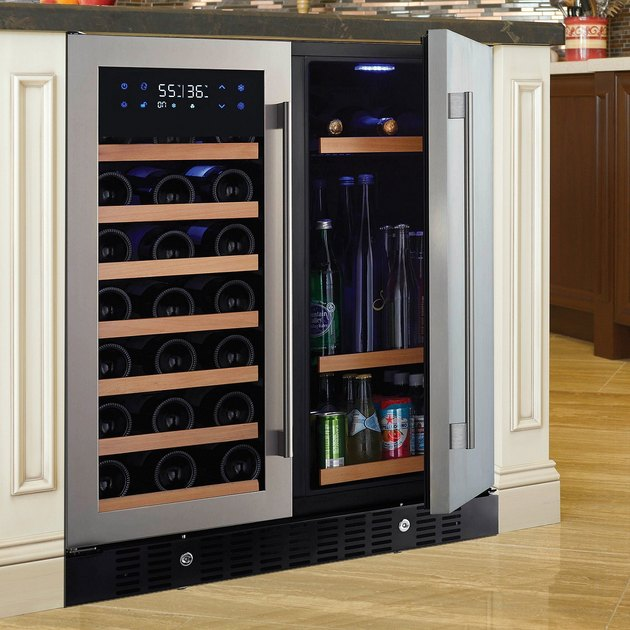 """If you take your wine very seriously and are looking for a true return investment, this premium wine fridge is exactly what you need. While certainly not budget-friendly at $1,500, this fully-loaded """"beverage center"""" includes dual independent cooling zones and the ability to store up to 35 standard Bordeaux wine bottles on seven pull-out shelves and 90 cans of beer or soda on four fixed shelves."""