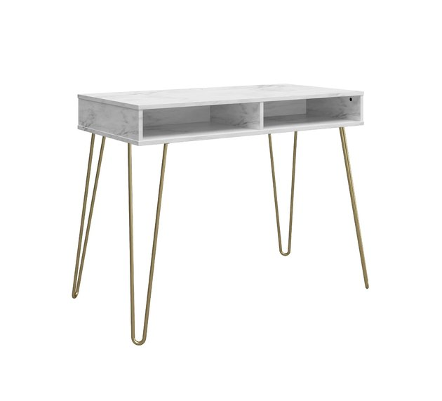 The faux white marble finish is super easy to clean and effortlessly chic. The desk offers ample storage space, including a cubby in the back to hide your power strip.