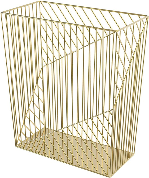 This glam wastebasket has a unique wire metal frame with a gold finish. With its 6-gallon capacity and stunning design, you're not going to want to hide this wastebasket under any office desk or under-sink cabinet.