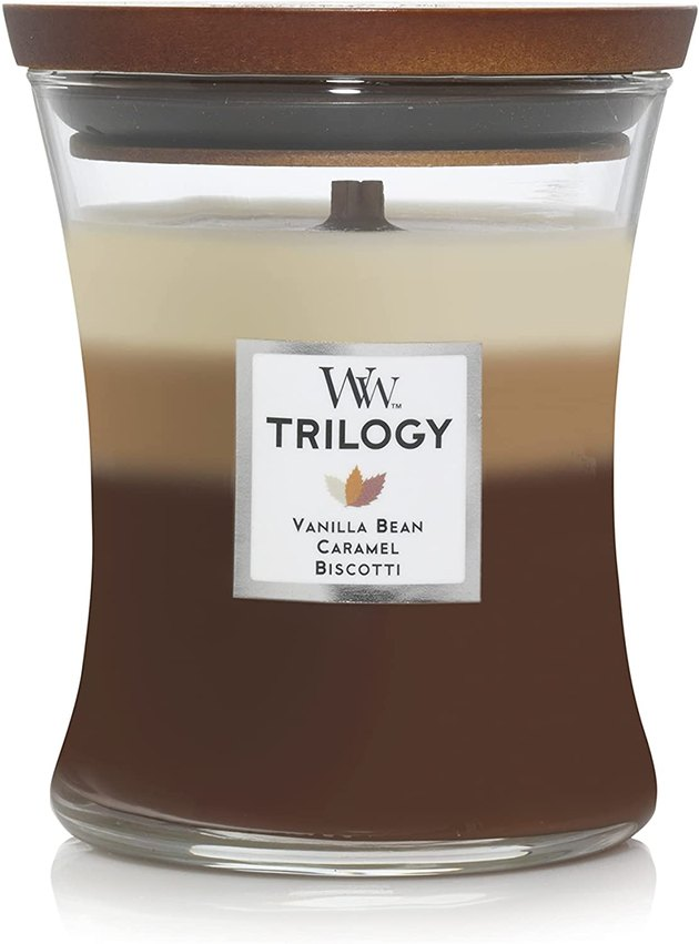 Bring that sweet fire crackle indoors with a wooden wick candle. As the brand name indicates, WoodWick has an entire collection of candles with wooden wicks and a colorful scent range. The Trilogy Candles, in particular, come with three layers of different, but complementary, scents to fill your home.