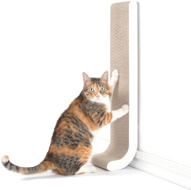 """You and your kitty will love this 26"""" vertical scratching post, perfect for scratching and stretching. It's also extra sturdy since it's mounted to the wall, and a mega space saver. Bonus: It's 100% recyclable."""