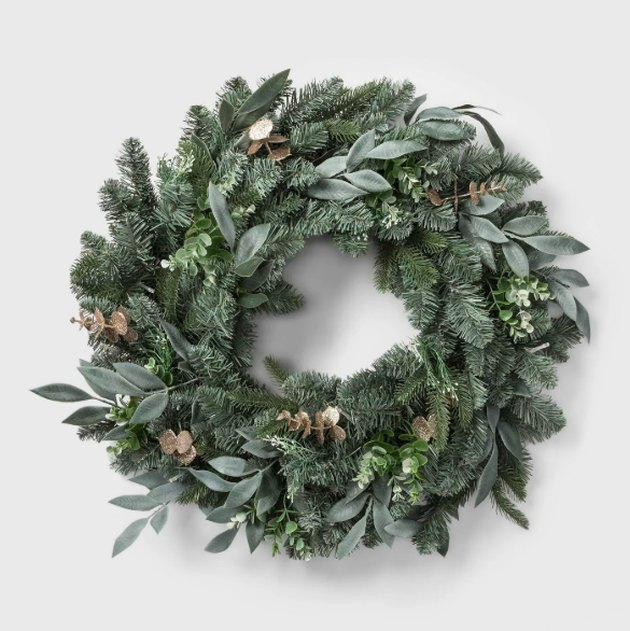 "28"" LED Battery Operated Mixed Pretty Gold Eucalyptus Wreath - Wondershop™"