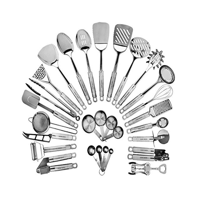 If you find yourself whipping up great dishes from breakfast to dinner, then this is the utensil set for you. In addition to instantly equipping your kitchen to the fullest, every item in the 29-piece set can endure even the harshest and most frequent cooking sessions. Made from high-quality stainless steel and high-grade silicone, you won't have to replace any item in this set for years to come.