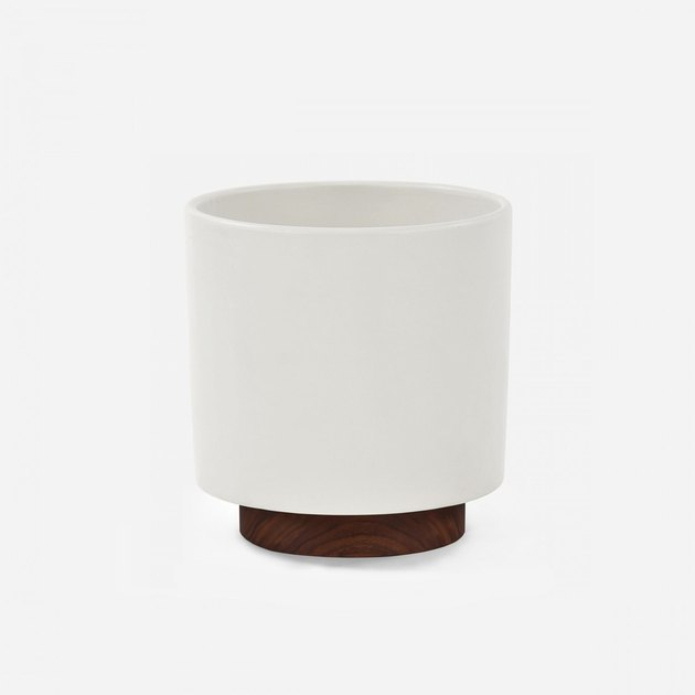 The Case Study Ceramics® Small Cylinder with Plinth is high fired stoneware planter, available in three matte colors: charcoal, pebble, and white. The plinth is made from a solid piece of North American walnut wood. The plinth is suited for indoor use only.