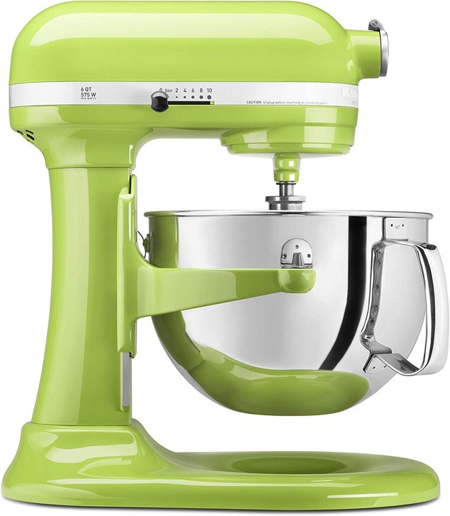 This mixer's 10 variable speeds can tackle any task, wet or dry, while its bowl-lift design provides added support when mixing the heaviest batches. Plus, it features 67-point planetary mixing action, allowing the attachments to reach every inch of the bowl, no scraping required.  In addition to the mixer, you'll receive 10 different attachments, including a burnished metal flat beater, Power Knead spiral dough hook, and six-wire whisk. Plus, you can purchase 12 additional attachments, like food grinders and pasta makers, to really show off your culinary skills.