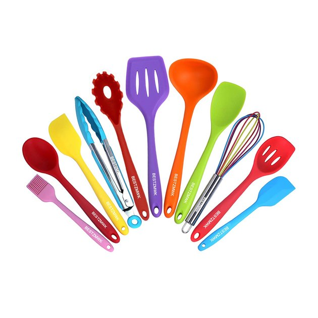 Maybe you're less interested in the most comprehensive or durable set and more interested in adding fun pops of candy-coated color to your kitchen aesthetic. If that sounds like you, then look no further than these playful rainbow utensils. The cheerful set will instantly bring feel-good vibes to your kitchen, but make no mistake: It's no slouch when it comes to cooking either. The 11-piece set features all the essentials, like a whisk, tongs, spatulas, and slotted and solid spoons, which is plenty adequate for most basic meals.