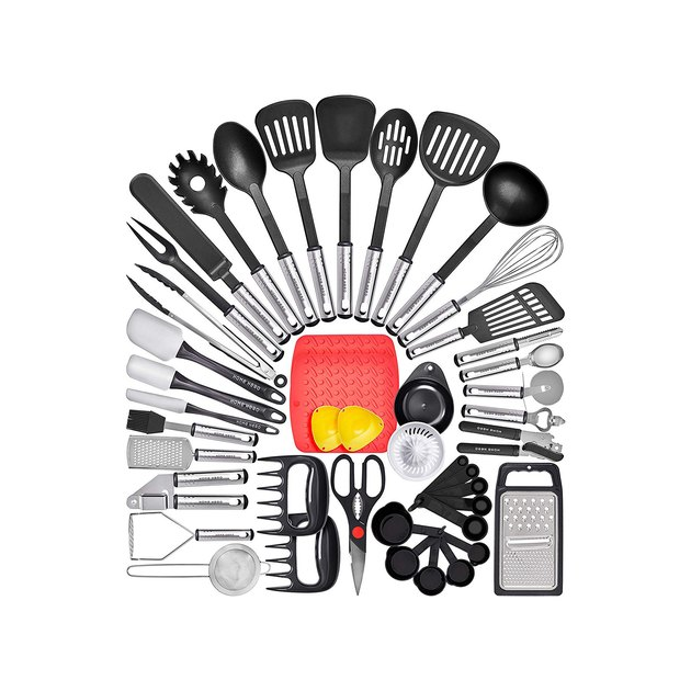 The 44-piece set equips your kitchen with items you won't find in most other sets, like an icing knife, egg poachers, and a juicer, in addition to all the staples, like measuring cups and spoons, spatulas, and a whisk.