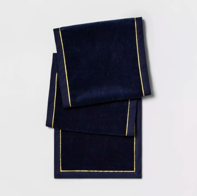 "72""X14"" Velvet Table Runner Navy - Threshold™"