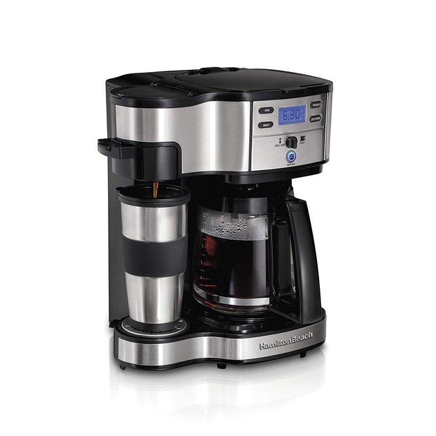 When you want single-serve and full-pot capabilities but you don't want to pay an exorbitant price, then this is the coffee maker you need in your life. The two-way brewer lets you make a single-serve cup or a 12-cup pot, and the nonstick, warming plate keeps your coffee piping hot for two hours before automatically shutting off.