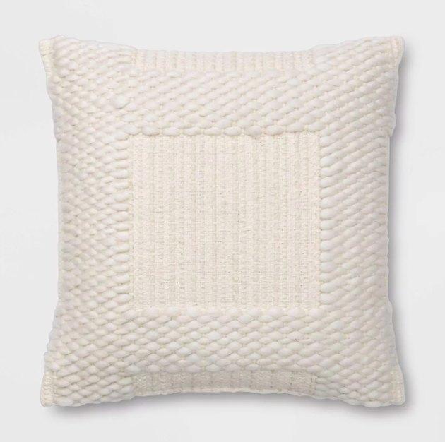 Woven Chunky Check Square Throw Pillow White - Threshold™