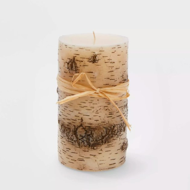 Large Birch Christmas Flame Candle