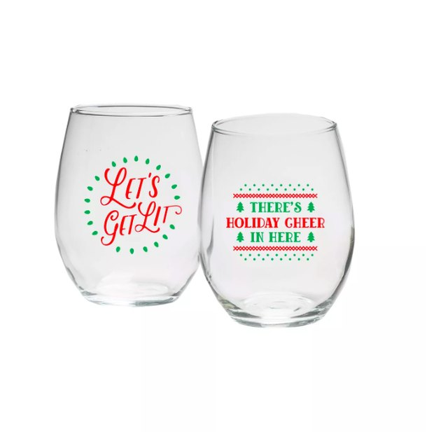 "15oz Set of 2 ""Let's Get Lit & Holiday Cheer"" Stemless Wine Glasses - Kate Aspen"