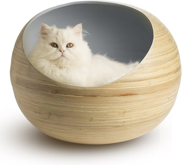 This cat pod will blend seamlessly into your modern home. With an organic bamboo shell and sleek slate interior, here's an accessory you and your pet will love equally. And have no fear — your fur baby's comfort won't be compromised since there's a washable velvet cushion inside.