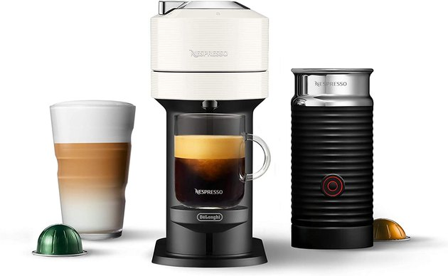 The Nespresso Vertuo Next Coffee and Espresso Machine is perfect for coffee and espresso lovers. With this coffee machine, you can brew three sizes of coffee (5 ounces, 8 ounces, and 14 ounces) and pull barista-worthy single or double espresso shots.  The Nespresso Vertuo Next is both compact and sustainable, made with 54% recycled materials without taking up too much countertop space. Plus, the water tank is removable for easy cleaning. And to complete the coffee and espresso machine, this bundle comes with the Aeroccino3, a milk frother for hot and cold drinks.