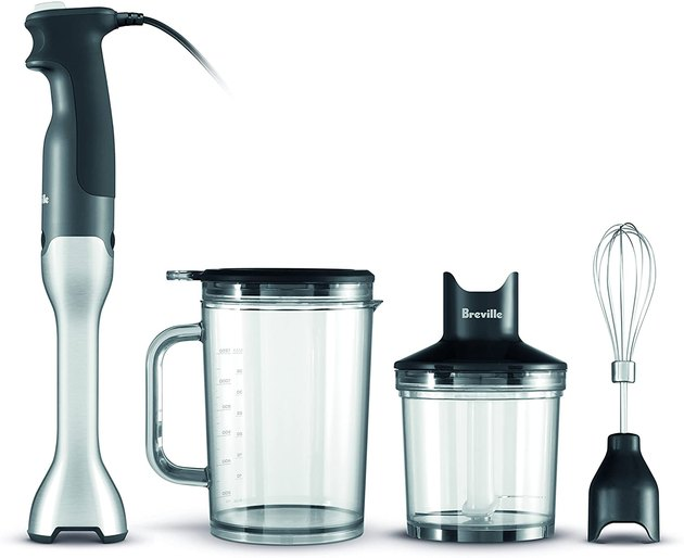 The Breville BSB510XL Control Grip Immersion Blender is an ergonomic hand blender, equipped with 280 watts and 15 speeds. On top of adjustable speeds and a non-scratch base, it also comes with a chopping bowl, large jug, and whisk.