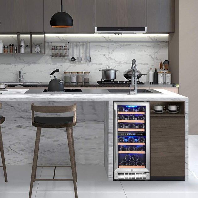 When it comes to judging appliances on the internet, sometimes you just have to go with what sells. Utilizing a high-quality compressor and dual fan circulating system, this built-in or standalone wine cooler keeps consistent temperature and humidity with dual-zone temperatures. The upper zone ranges 41 to 55.4 degrees, while the lower zone stays between 55.4 to 64.4 degrees. There is also a temperature memory function in case of a power outage, to ensure your wine stays at peak freshness.