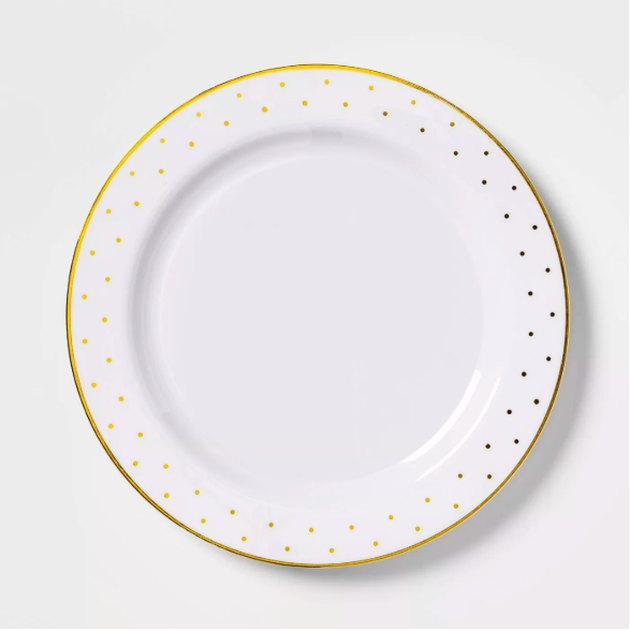 "Disposable Dinner Plates with Gold Dots 10.3"" Set of 8 - sugar paper™"
