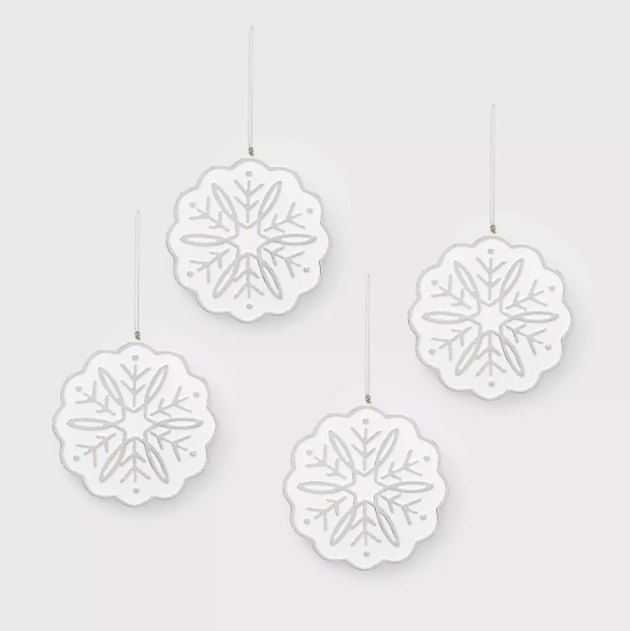 4ct Wood Snowflake Christmas Ornament Set Silver - Wondershop™