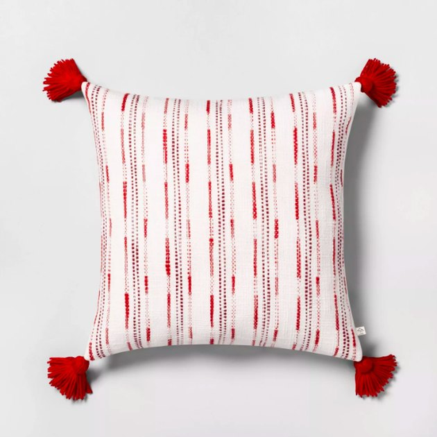 Textured Stripe Toss Pillow Red - Hearth & Hand™ with Magnolia