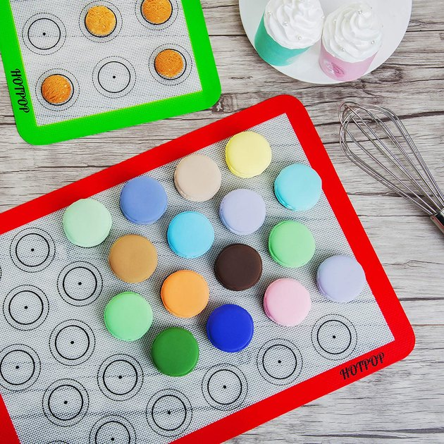 """Includes everything you need for baking perfect macarons - 2 half-size silicone baking mats (16.5""""x11.5""""), 8 piping tips, 3 piping bags with 3 bag ties and 1 coupler."""