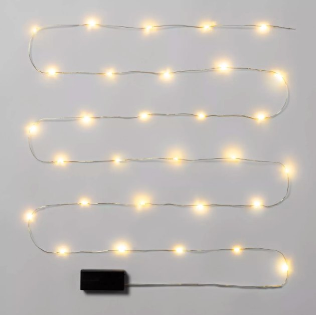 30ct LED Lights Battery Operated String Fairy Lights Warm White Gold Wire