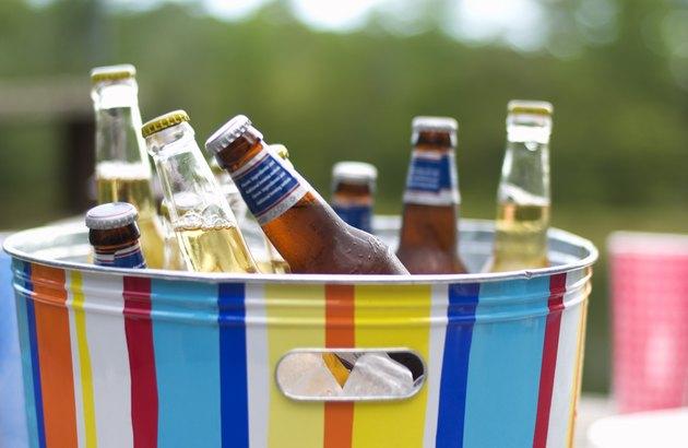 Bottles of beer in ice bucket