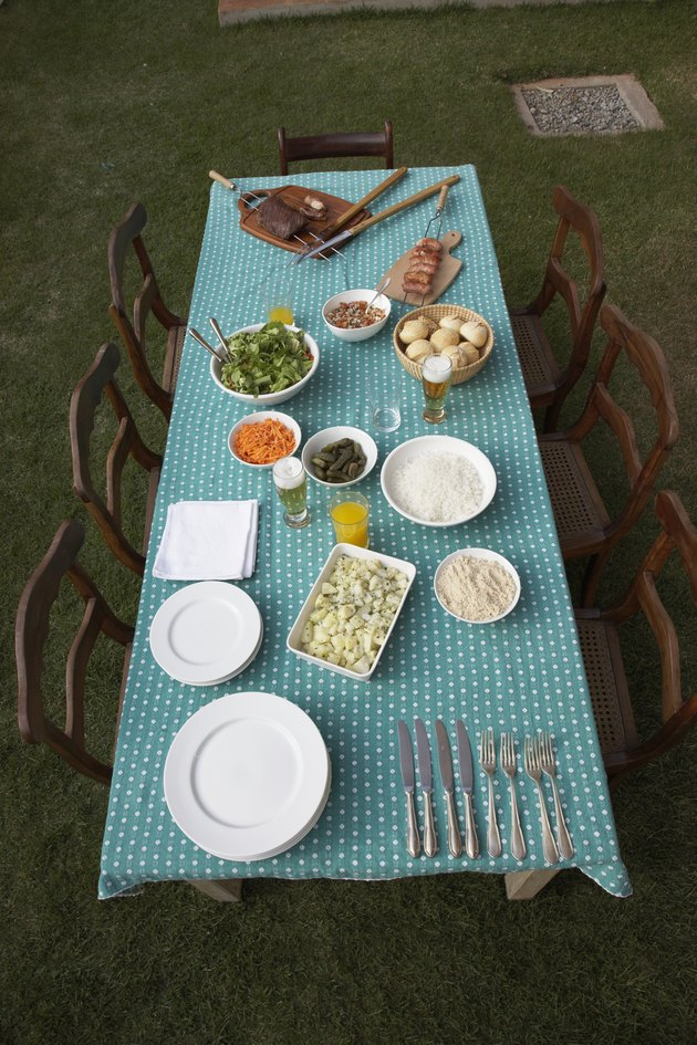 Picnic table set for dinner