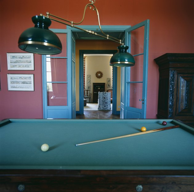 Billiards table in  empty room, close-up.