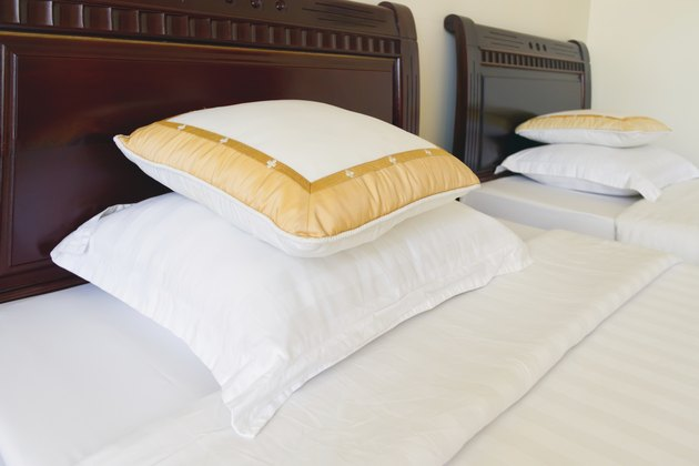 Soft pillows on the bed