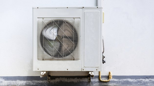 Air conditioner on wall house
